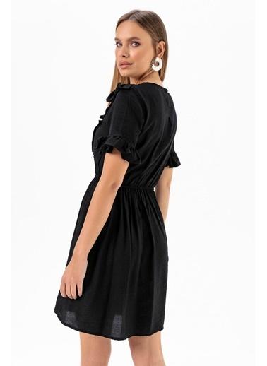 Emjey Önü V Farbalı Elbise Siyah